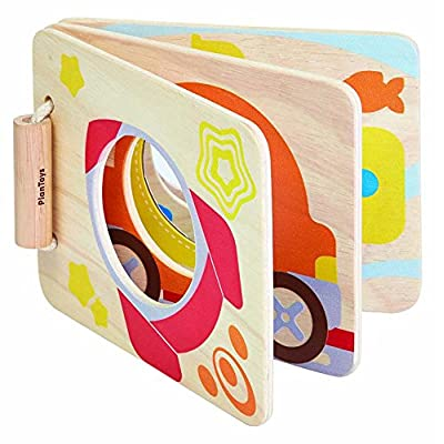 PlanToys Wooden Mirrored Baby Book (5243) | Sustainably Made from Rubberwood and Non-Toxic Paints and Dyes: Toys & Games