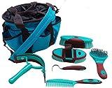 Showman 6 Piece Soft Grip Grooming Kit w/ Brush Hoof Pick Scraper Mane & Tail