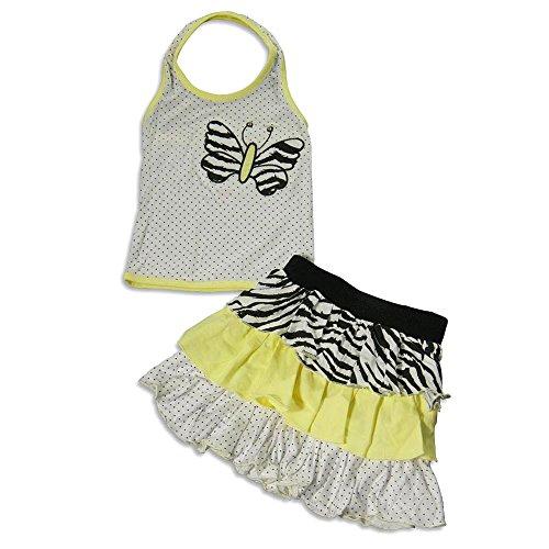 Lipstik Skirt Girls - Me Me Me by Lipstik - Little Girls's Halter Skirt Set, White, Yellow 22453-4