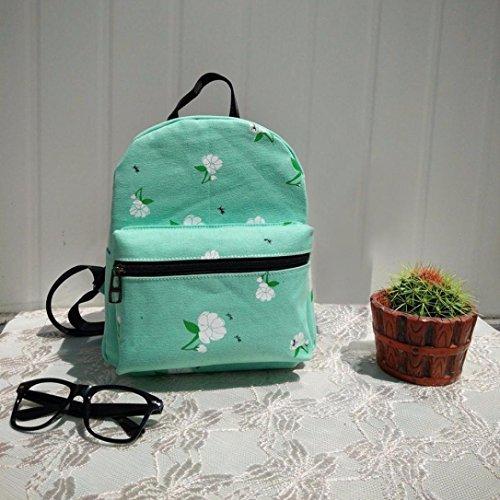 Clode® Las mujeres mochila lona bolso Rose de la escuela mochilas bandoleras Verde