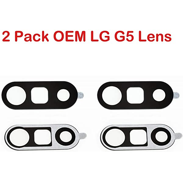 2 Pack OEM Back Rear Camera Glass Lens with Adhesive Fix Replacement Parts for LG V30 Black
