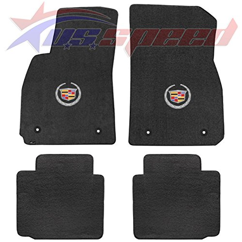 2013-2016 Cadillac XTS 4pc Black Velourtex Floor Mats - Crest & Wreath Logo