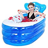 Bathtubs Freestanding Inflatable Padded Adult Folding Bath tub Children's Bath Plastic Bath Bucket Green Material Cotton at The Bottom (Color : Blue, Size : 1307570cm)