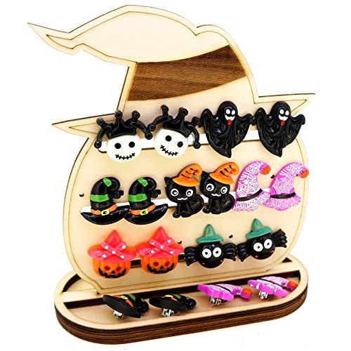(Cartoon Halloween Clip On Earrings For Kids Children Teen Girls Pack of 7 Pairs, with Pumpkin in a Witch Hat Shape Jewelry Stand as Gift)