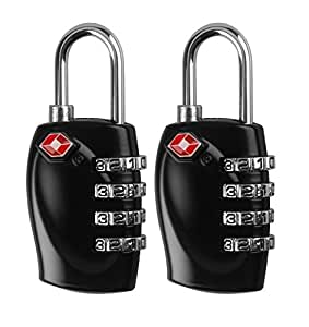 MDW 2 Pcs TSA 4 dial Combination Security Padlock Code Lock for Travel Suitcase Luggage (BLACK)