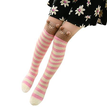 60d52d2e2f0 Wa Cartoon Animal Women s Knee Thick High Socks Girls Long Stripes Over  Tthe Knee Thigh High Socks Cotton Socks  Amazon.co.uk  Kitchen   Home