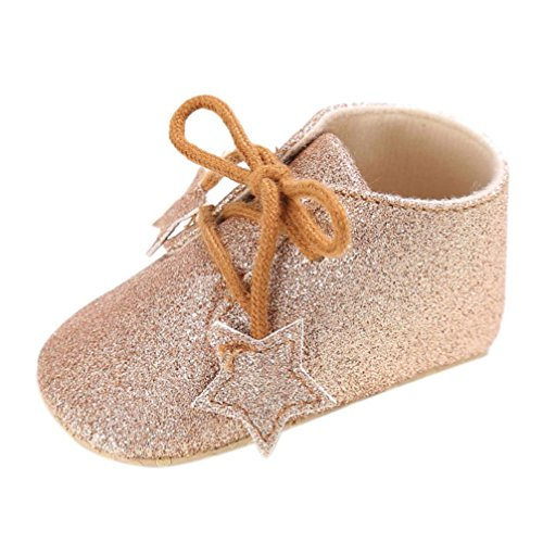 Saingace Kleinkind Mädchen Krippe Schuhe Neugeborene Blume Soft Sohle Anti-Rutsch Baby Sneakers Gold