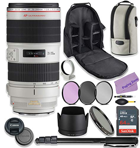 Canon EF 70-200mm f/2.8L is II USM Lens Bundle with Premium Accessories Including 64GB Sandisk Memory, ND Variable Filter, Backpack, Monopod, High Def Filter Kit & More.