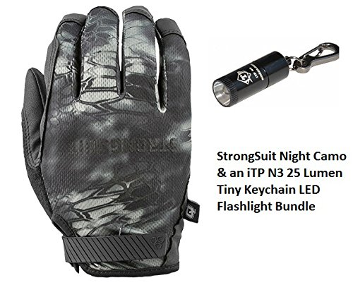 StrongSuit Q Series Enforcer Tactical Glove, Night Camo, Bundle with an iTP 25 Lumen Tiny Keychain LED Flashlight (Small)