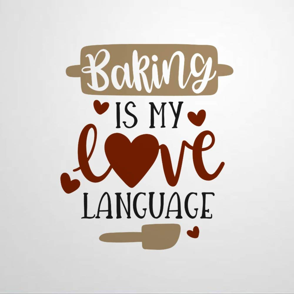 Baking is My Love Language Vinyl Wall Decal, Food Kitchen,Inspirational Inspirational Quotes Stickers Motivational Word Wall Art Sticker Vinyl Wall Mural Home Decor for Kids Room Bedroom Living Room