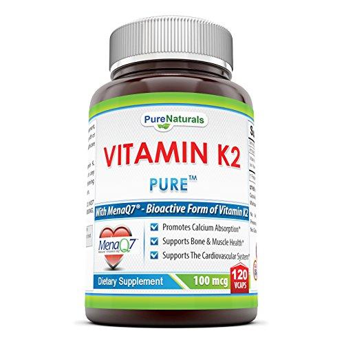Pure Naturals Vitamin K2 Supplement Vegetarian Capsules  100 Mcg  120 Count