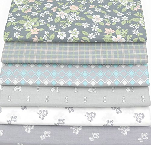 6pcs/lot 40cm50cm Grey Floral Cotton Fabric for Patchwork Quliting Sewing Scrapbook DIY Material Tilda Doll Cloth (Yarn Stripe Feather)