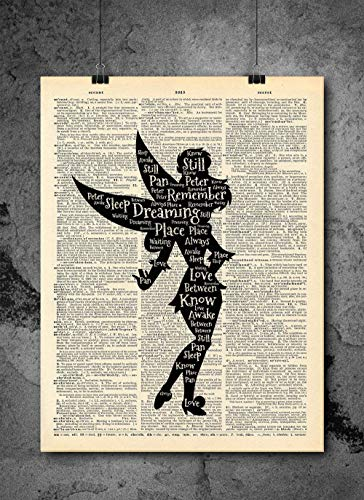 Tinkerbell Peter Pan - Dreaming - Inspirational Quote Art - Vintage Dictionary Print 8x10 inch Home Vintage Art Abstract Prints Wall Art for Home Decor Wall Decorations Ready-to-Frame ()