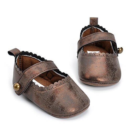 Estamico,Zapatos bebé niña primeros pasos, Zapatos y calcetines blancos del bautismo del bebé Café