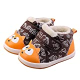 Baby Cotton Rubber Sole Cat Pattern Warm Outdoor Snow Boots First Walkers Shoes for Boys Girls12-30 Months(16(Inside length-12.6cm)(12-15months), Brown)