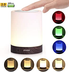 iFkoo Rechargeable Night Light with Hook, Touch Sensor Bedside Lamp for Bedroom, Living Room, Dimmable Warm White Light & Color Changing RGB Outdoor Table Lamp, Best Gifts for Baby, Kids, Adults
