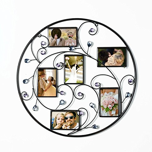 Asense[PFA597] Iron Round Circle 6 Openings 4 By 6 Inch Picture Photo Frame Twinkle Diamond for Hanging Wall