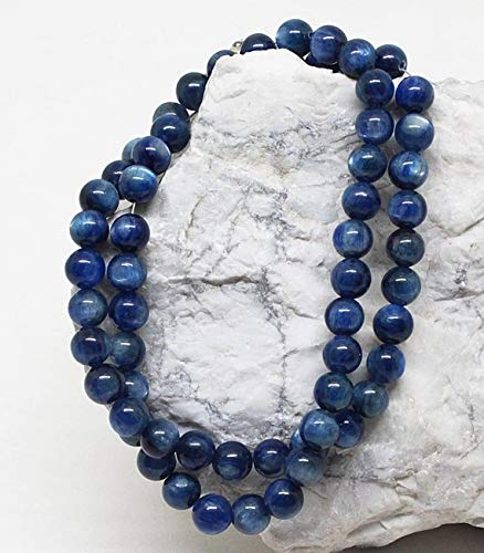 Beads Bazar Natural Beautiful jewellery 1 Stand Natural 18 inch Natural Gemstone Super Quality Dark Kyanite Smooth Round Beads Full Strand Fine Quality Necklace 7 MMCode:- NY-87   B07L23GDNH