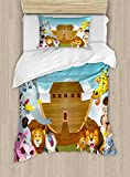 Ambesonne Religious Duvet Cover Set Twin Size, The Ark Illustration Before Journey All Animals Myth Faith Grace Old Stories, Decorative 2 Piece Bedding Set with 1 Pillow Sham, Multicolor