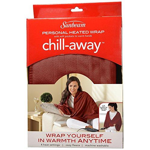 Sunbeam Chill Away Heated Fleece Wrap Garnet Only 16 29