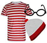 MENS BOYS RED & WHITE STRIPED THEME C...