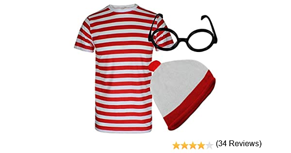 Global Fashion - Disfraz de Wally (camiseta de rayas rojas y ...
