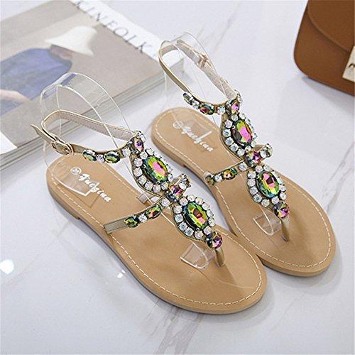 Cristal Robe perlé Angel Femmes avec 2 Bohème en de Mariage EU Tongs Strass love 3 Chaussures Sandales 38 pour Size Gladiateur beauty 84qxS8PO
