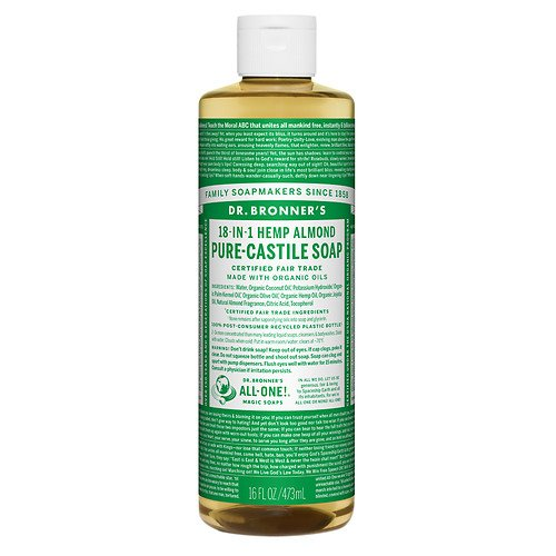 Dr. Bronner's 18-IN-1 Hemp Pure-Castile Soap, Almond 16 fl oz (472 ml)(Pack of 1)