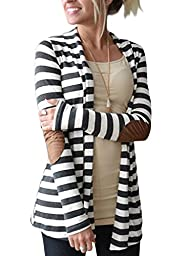 OURS Women\'s Turndown Neck Long Sleeve Striped Long Tops Cardigan Gray and white Large