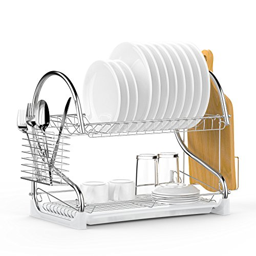 Dish Drying Rack, Ace Teah Upgrade 2 Tier Plated Chrome Dish Dryer Rack with Utensil Holder, Cutting Board Holder and Kitchen Dish Drainer for Kitchen Counter Top 17x9.7x14.6inch (Silver) Chrome Plated Condiment Rack
