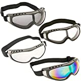 TukTek Tactical Paintball Goggles Eye Protection Glasses 4 Pack Safety Lens Clear Gray Silver Multi-Color for Airsoft Motorcycle Dirt Bike Shooting Ski & Snowboard