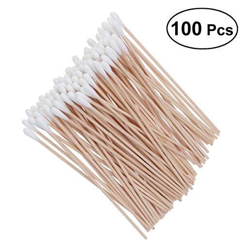 Milisten 400pcs Disposable Double Round Tips Cotton Swabs with Strong Bamboo Sticks for Ear Clean Makeup