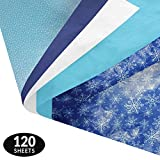 Winter Gift Wrapping Tissue Paper Set - 120 Sheets - Patterned and Solid Color