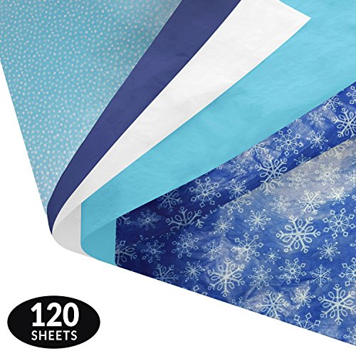 Winter Gift Wrapping Tissue Paper Set - 120 Sheets - Patterned and Solid Color - Patterned Tissue