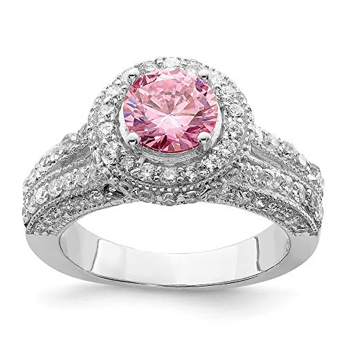 925 Sterling Silver Round Pink White Cubic Zirconia Cz Band Ring Size 8.00 Fine Jewelry Gifts For Women For Her ()