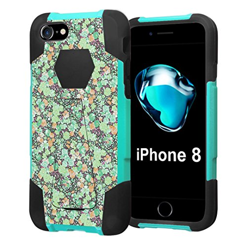 Turquoise Azalea - iPhone 8 Case, Capsule-Case Hybrid Fusion Dual Layer Shockproof Combat Kickstand Case (Teal Mint Green & Black) for iPhone 8 - (Green Azalea)