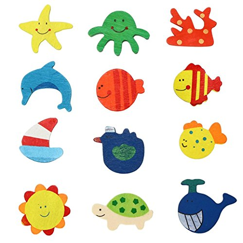TAOtTAO 12pcs Cute wooden multicolor Kitchen Fridge Magnet For Baby Kid...