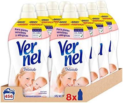 Pack 8 botellas Vernel Suavizante Delicado 456 lavados