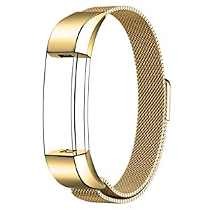 Fitbit Alta HR and Alta Bands Metal, Swees Milanese Stainless Steel Replacement Accessories Metal Small & Large Band for Fitbit Alta HR and Alta, Gold