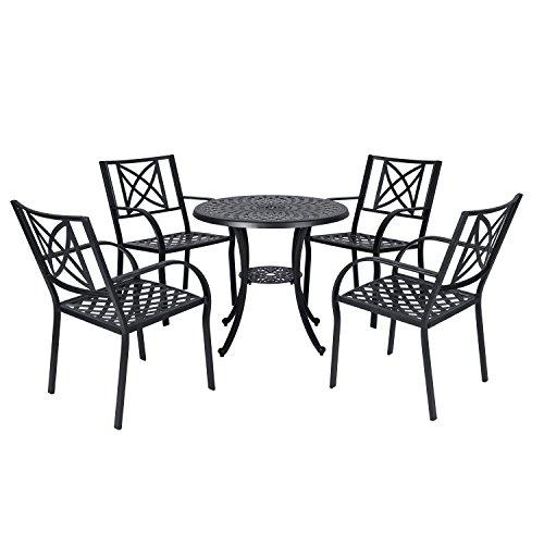 Vifah V1809SET2 Paracelsus Outdoor Patio Aluminum 5-Piece Dining Set, Black