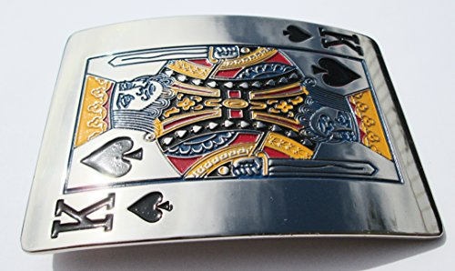 Chrome King of Spades Belt Buckle - Free Shipping (Spade Buckle)