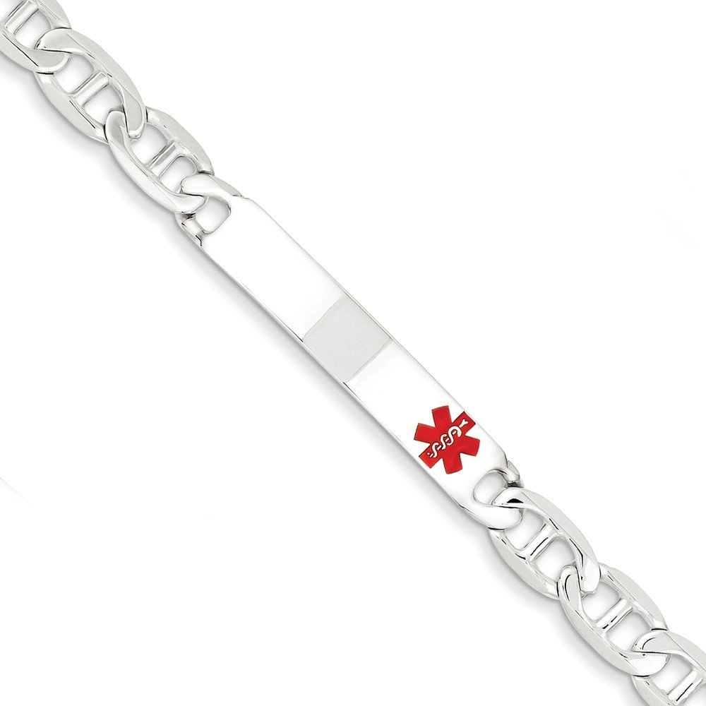 .925 Sterling Silver 7.00MM Red Enamel Medical Alert ID Anchor Link Bracelet 7.50 and 8.50 inches Marchello And Co