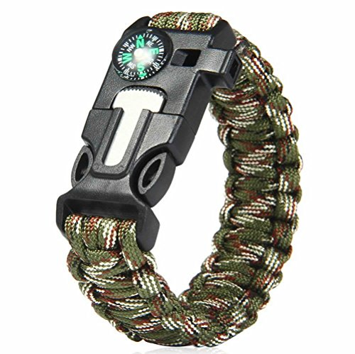 Arich ParArich Paracord Survival Bracelet Compass/Flint/Fire Starter/Whistle Camping Gear Kitsacord Survival Bracelet Compass/Flint/Fire Starter/Whistle Camping Gear Kits (Green Camouflage) (Starter Hoodie Men compare prices)