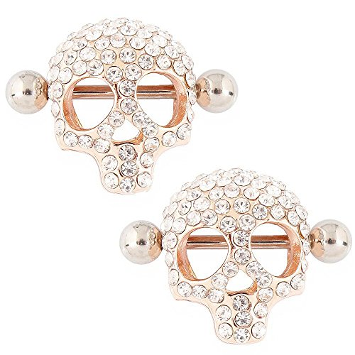 IrbingNii Rosy Gold Color Nipple Rings Nipple Shields 3D Skull Body Piercing Jewelry a Pair ()