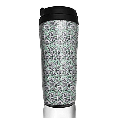 coffee cups with lids 12 oz Floral,Wild Orchids Exotic Spring Blooms Feminine Themed Hand Drawn Plants, Mint Green Black White 12 oz,coffee cup for men