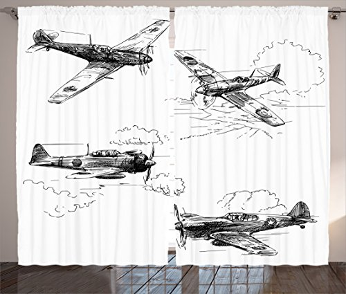 Ambesonne Airplane Decor Collection, World War Aircraft Army German Pilot Veteran Aggression Historic Vehicle Pict, Living Room Bedroom Curtain 2 Panels Set, 108 X 84 Inches, Black (Roaring Twenties Mens Fashion)