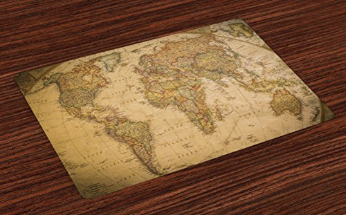 Lunarable World Map Place Mats Set of 4, Anthique Old World Map in Retro Colors Vintage Nostalgic Design Art Print, Washable Fabric Placemats for Dining Room Kitchen Table Decor, Cream ()