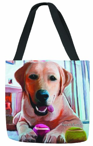 18 Lab (Manual Tennis Anyone Yellow Lab 18-Inch Labrador Retriever Paws & Whiskers Tote)