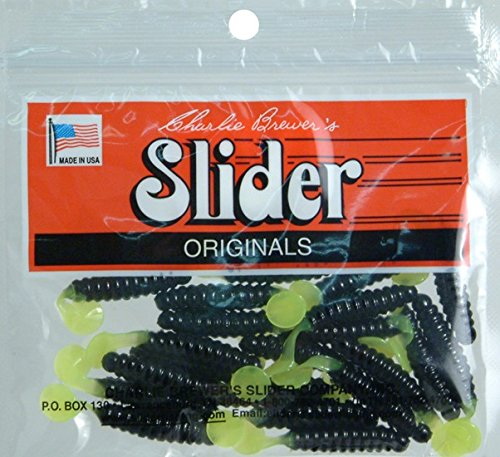 Slider Crappie/Panfish Grub Lure, 1-1/2-Inch, Black/Chartreuse ()