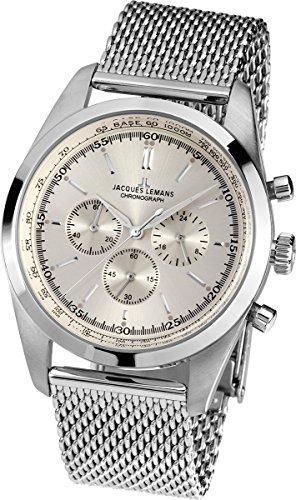 JACQUES LEMANS Men's Nostalgie Chronograph N-1560B Stainless Steel Mesh Bracelet